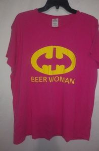 BEERWOMAN Pink Yellow SuperHero Top 2X Plus